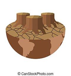 terra pianeta, arido, icona