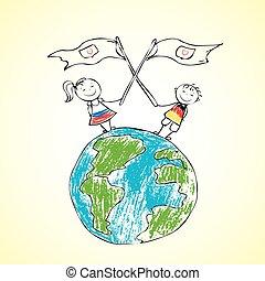 terra pianeta, bambini