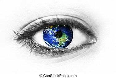 terra pianeta, bianco, occhio, isolato