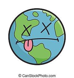 terra pianeta, cartone animato, morto, illustrazione