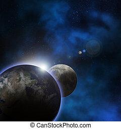 terra pianeta, dietro, alba