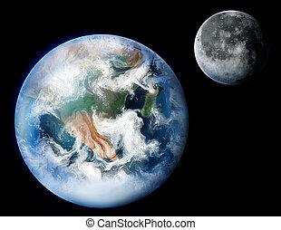 terra pianeta, digitale, pittura, luna