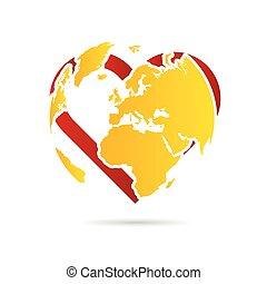 terra pianeta, illustrazione, cuore