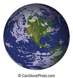 terra pianeta, isolato, bianco