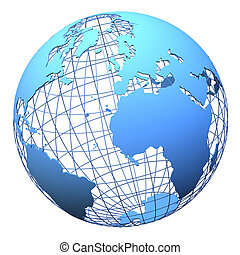 terra pianeta, isolato, wireframe, disegno