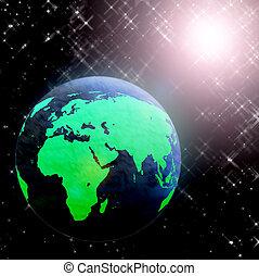 terra pianeta, luce sole, spazio
