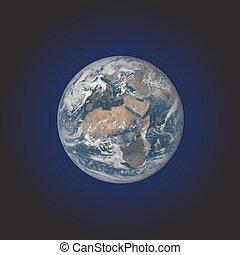 terra pianeta, realistico, illustrazione, vettore