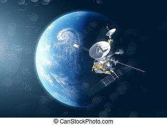 terra pianeta, satellite, sopra