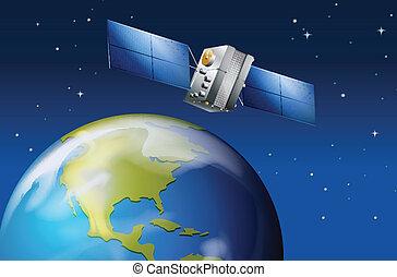 terra pianeta, satellite