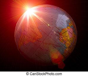 terra pianeta, scuro, alba