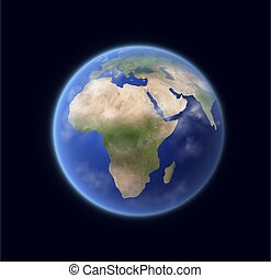 terra pianeta, sistema, 3d, globo, realistico, solare