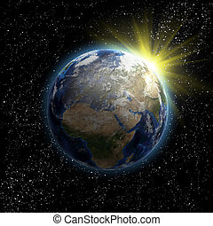 terra pianeta, sole, stelle