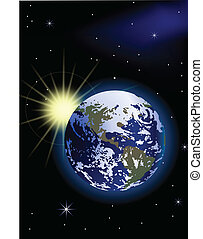 terra pianeta, spazio, alba