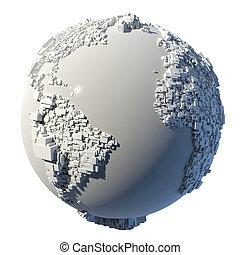 terra pianeta, struttura, cubico
