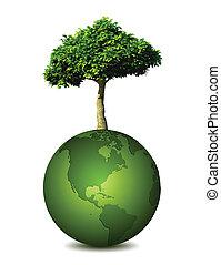 terra pianeta, vettore, albero.