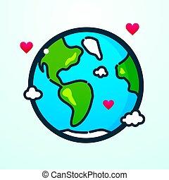terra pianeta, vettore, illustrazione