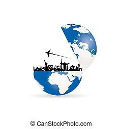 terra pianeta, viaggiare, illustrazione, segno