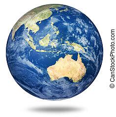 terra pianeta, -, vista, australiano, bianco