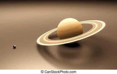 terra, saturno, pianeti, vuoto