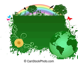 terra, sfondo verde