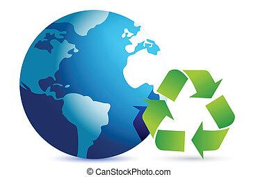 terra, simbolo, riciclaggio, globo
