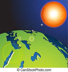 terra, sistema, solare