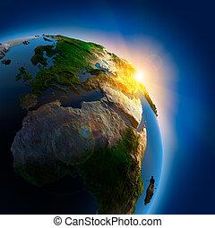 terra, sopra, esterno, alba, spazio