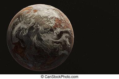 terra, space., pianeta, morto