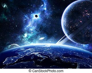 terra, superficie, pianeti, intorno