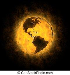 terra, totale, -, warming, america
