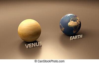 terra, venere, pianeti