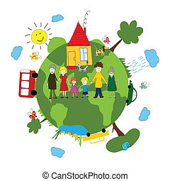 terra, verde, famiglia