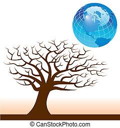 terra, vettore, albero, fondo