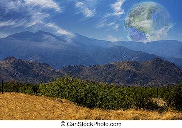 terraformed, terra, moon., vista