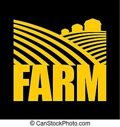 terre, fattoria, agricoltura, segno., terra, arabile, logo.