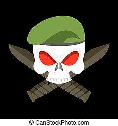 terribile, cranio, esercito, berretto, basco, emblem., militare, soldati, knife., segno, abbigliamento
