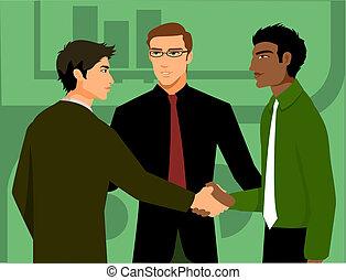 terzo, essendo, mani, uomini, due, introdotto, tremante, uomo