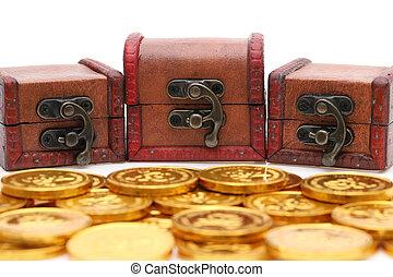 tesoro, colorato, monete oro, torace