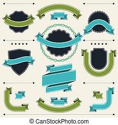 tesserati magnetici, elements., etichette, progetto serie, retro, nastri