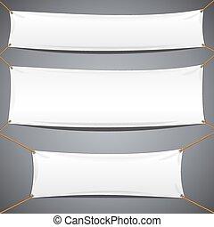 tessile, banners., vettore, pubblicità, sagoma, bianco