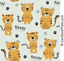 tessuto, illustrazione, seamlesss, divertente, vivaio, infantile, tigri, bambini, modello, vestiti