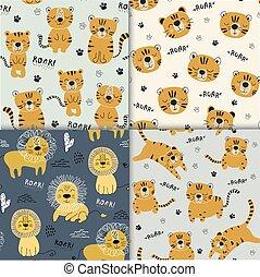 tessuto, illustrazione, vivaio, seamlesss, divertente, set, infantile, tigri, leone, bambini, modello