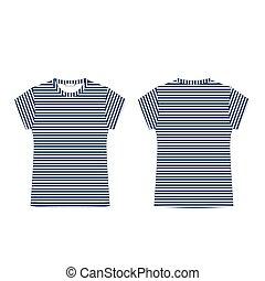 tessuto, isolato, bianco, fondo., striscia, t-shirt, back., vuoto, blu, fronte, sagoma