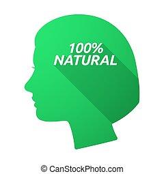 testa, 100%, isolato, femmina, naturale, testo