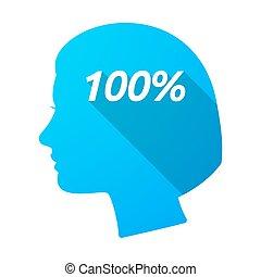 testa, 100%, isolato, femmina, testo