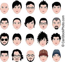 testa, acconciatura, faccia, capelli, maschio, uomo