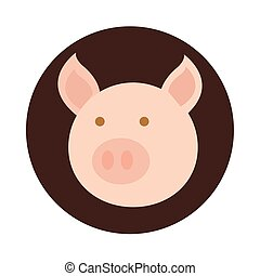 testa, cartone animato, appartamento, maiale, icona, animale, agricoltura, fattoria, blocco