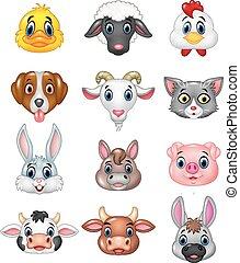 testa, cartone animato, felice, animale