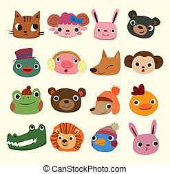 testa, cartone animato, icone animali
