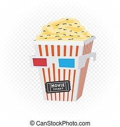 testa, cinema, biglietto, popcorn, occhiali